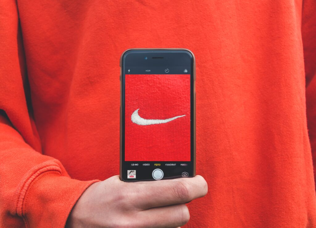 picture of nike logo on phone